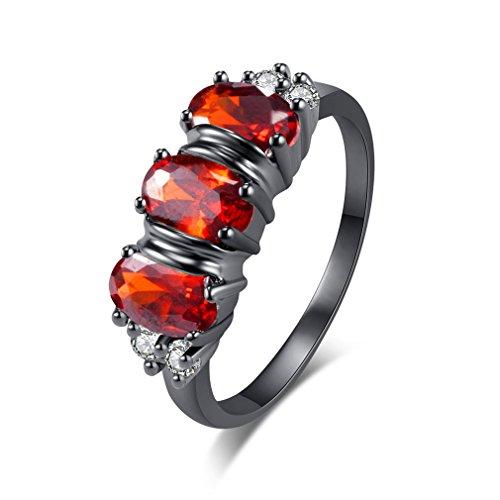 YAZILIND Modeschmuck Hochzeit Band Elegantes schwarzes Gold überzogene rote Zirconia Ringe Größe 16.9