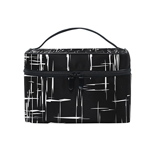 ALAZA Sac cosmétique vintage noir et blanc à rayures Maquillage Voyage cas de stockage Organisateur