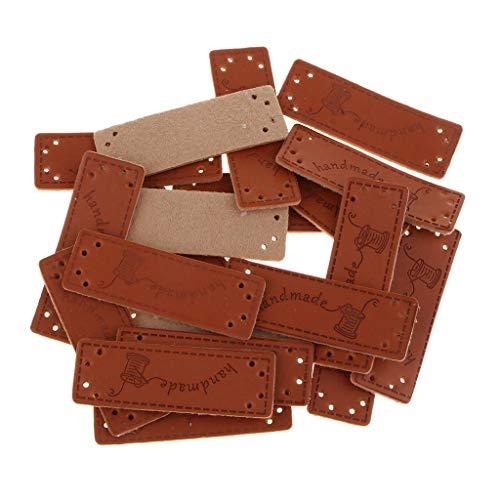 Hellery 20pcs Handmade Leder Etikette Label DIY Kunstleder-Etiketten Nähen für Kleidung, Taschen, Geldbörse, Stricken - 02 -
