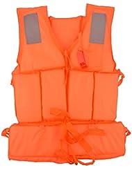 CkeyiN Léger Gilet de sauvetage Adulte avec Sifflet,4 Lumière reflètent la section (Orange)