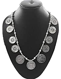 Aya Fashion Designer Afgani Oxidized Silver Coin Style Necklace | Elegant Stylish And Unique, Party Wear | For...