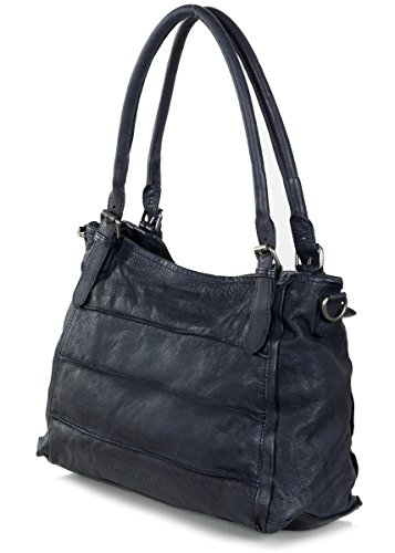 FREDsBRUDER Waxed Leather Century Handtasche Leder 24 cm Dark Navy (Blau)