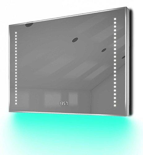Diamond X Collection Badspiegel mit Uhr, Bluetooth, Spiegelheizung, Sensor & Rasiersteckdose k193Taud
