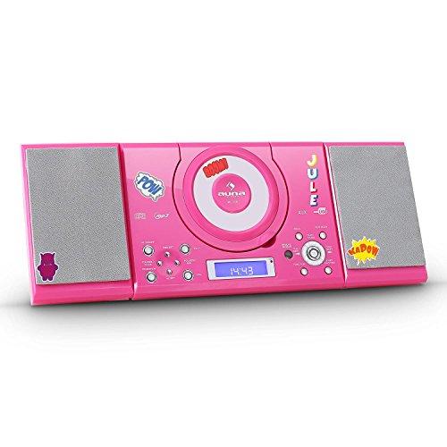 auna MC-120 Stereoanlage Kompaktanlage Musikanlage HiFi-Anlage (MP3-fähiger CD-Player, USB, AUX, Fernbedienung, integrierte Uhr mit Wecker, Stand- und Wandmontage) rot