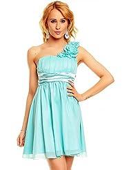 Kurzes One Shoulder Träger Kleid Cocktailkleid Partykleid Empire Babydoll, verschiedene Farben