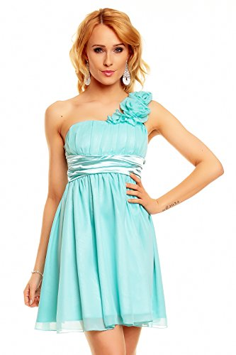 Kurzes One Shoulder Träger Kleid Cocktailkleid Partykleid Empire Babydoll, hellblau aqua L 40