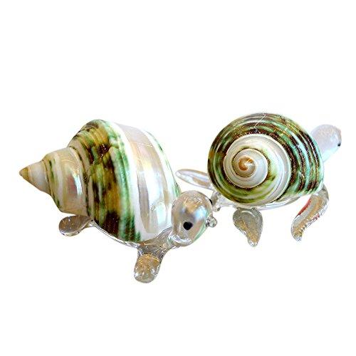 Sansukjai 2Pcs Turtle & Meer Schildkröte Figuren aus Mundgeblasenes Glas Mix Natürliche Jade Grün Turbo Shell Beach Tiere Sammlerstück Geschenk Home Decor # 11