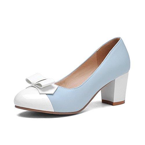 Odomolor Damen PU Leder Gemischte Farbe Ziehen auf Rund Zehe Mittler Absatz Pumps Schuhe, Blau, 36