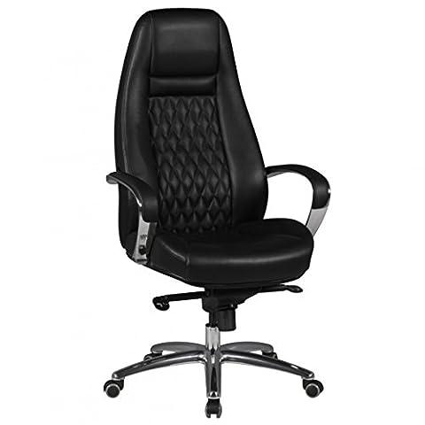 Bürostuhl AUSTIN Echt-Leder Schwarz Schreibtischstuhl 120KG Chefsessel hohe Rückenlehne mit Kopfstütze X-XL h