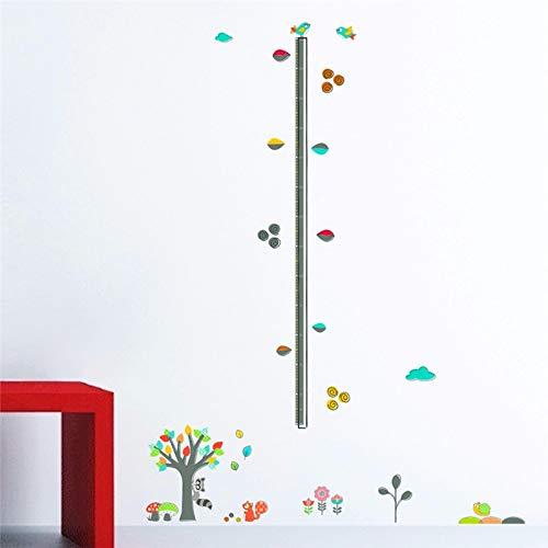 Lxtmgzgf Cartoon Wald Baum Tier Blume Höhe Maßnahme Wandaufkleber Für Kinderzimmer Dekor Pvc Flugzeug Wachstum Chart Wandtattoos Diy Wandbild