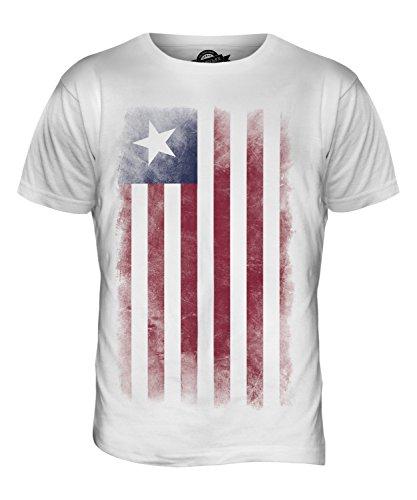 CandyMix Liberia Verblichen Flagge Herren T Shirt Weiß