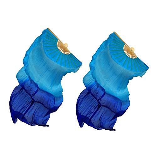 Bauchtanz Seidenfächer Schleier Faltfächer Tanz Fächer Fächerschleier Flügel Tanzen Lange Hand Fan - Blau