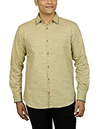 Kuons Avenue Men's Slim Fit Dark Beige Self Weave Cotton Silk Traditional Casual Party Shirt