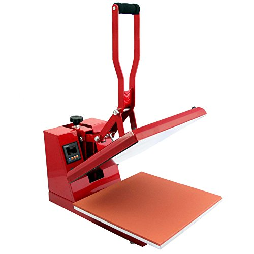 Buy PixMax Sublimation T-Shirt Heat Press Machine & Printer, Clam Style, 38cm x 38cm, Red