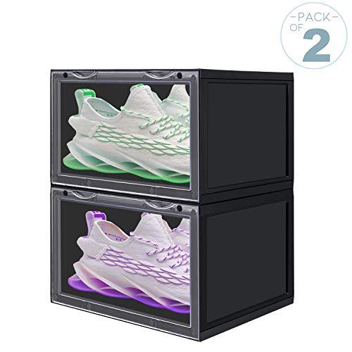 LOMOFI Caja Zapatos 2 Piezas Cajas Zapatos Apilables Transparente Cajas de Plástico para Zapatos For...