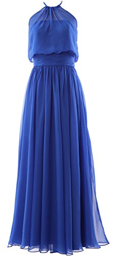 MACloth Women Halter Chiffon Long Bridesmaid Dress Formal Party Evening Gown Royal Blue