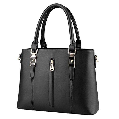 HQYSS Damen-handtaschen PU Leder Spring Modelle OL s weibliche Vertikalschnitt Reißverschluss Schulter Messenger Tasche black