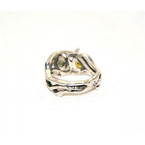 Moldavit & grün Turmalin Ring Schmuck - Sterlingsilber