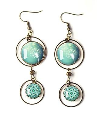 Boucles d'oreilles cabochons, Dandelions, Fleurs Pissenlit, bleu tendre et mandala zen