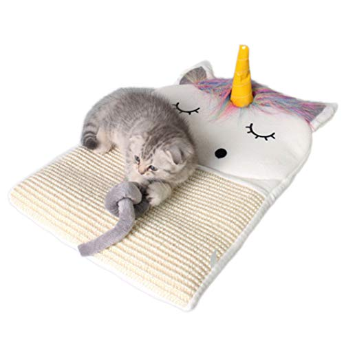 Scratcher Bett Matte Pad Katze Kratzbrett Kratzbaum Kätzchen Schleifen Nagel Hängen Cat Scratcher Sisal Spielzeug (Weiß) ()