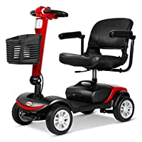 HOPELJ Electric Folding Mobility Scooter,Portable Travel Car Boot Scooter,300W 20AH 6.2Mph 18.6 Mile Range,Red,Solidtire