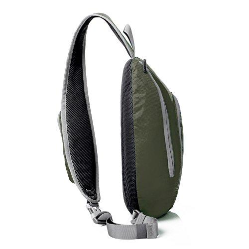 GSTEK Schultertasche Schulter-Rucksack, Umhängetasche, Rucksack für Schule, Reisen, Radfahren, Wandern Armeegrün
