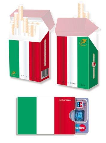 EM-SET Motiv: ITALIEN FAHNE / FLAGGE - 1x cardbox (Kartenhülle, Ausweishülle, Führerscheinhülle) UND 1x indo slipp (Hülle für Zigarettenschachteln) im SET (var. 1)