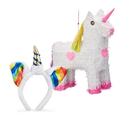 Relaxdays 2 Teiliges Einhorn Set, Pinata Einhorn, Haarreif Unicorn, Kinderhaarreif Regenbogeneinhorn, Geburtstagsdeko für Kinder (2 Person Einhorn Kostüm)