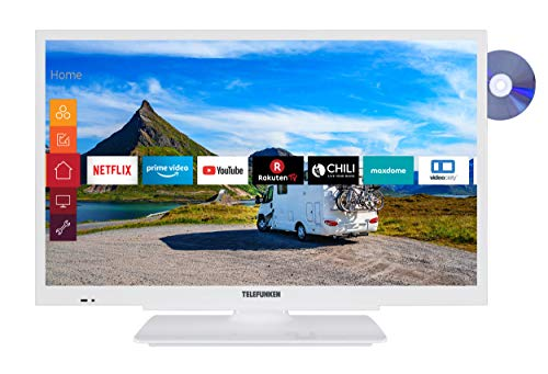 Telefunken XF22G501VD-W 55 cm (22 Zoll) Fernseher (Full HD, Triple Tuner, Smart TV, Prime Video, DVD-Player integriert, 12 V, Works with Alexa)