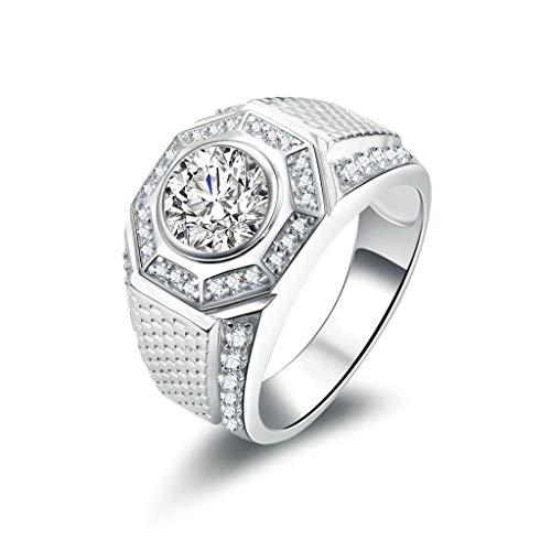 Aeici Verlobungsring Vintage Ringe Silber 925 Breit Runde CZ Silber-Graviert Größe 68 ()