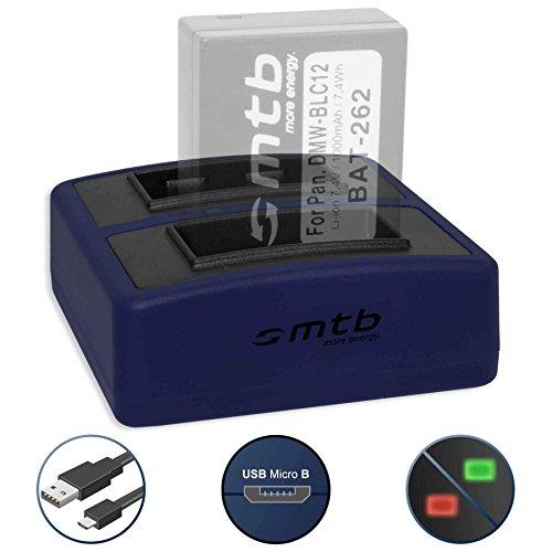 Dual-Ladegerät Compact (USB) für DMW-BLC12 BLC12E | Leica BP-DC12 | Sigma BP-51 - inkl. Micro-USB-Kabel (2x Akku gleichzeitig ladbar)