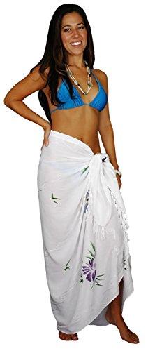 1 World Sarongs Damen Verzierter Schmetterling Badeanzug Sarong Weiß