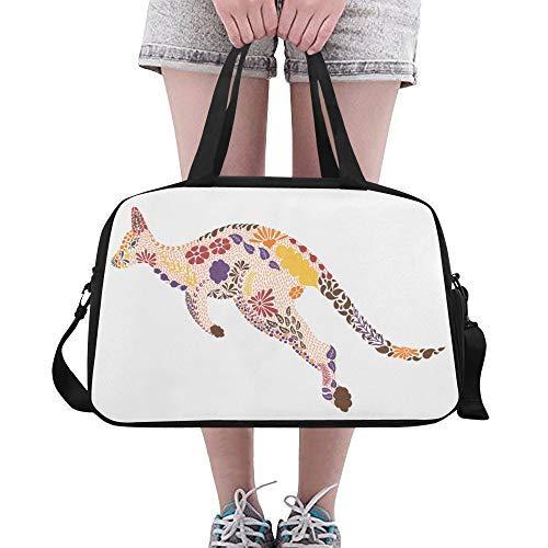 Känguru niedlich springen Tier große Yoga Gym Totes Fitness Handtaschen Reise Seesäcke Schultergurt Schuhbeutel für Übung Sport Gepäck für Mädchen Männer Frauen im Freien - Coach Große Hobo