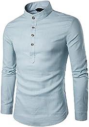 suchergebnis auf amazon de f�r hemden stehkragen bekleidung  sunshey 2017 neu herren langarmes hemd b17 mit stehkragen und kn�pfen, leinen und einfarbig freizeithemd
