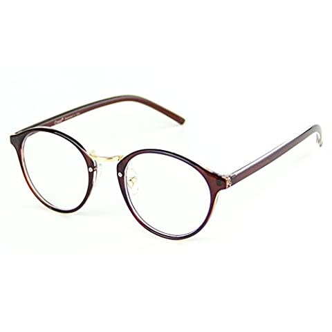 Cyxus filtre lumière bleue lunettes,rétro ronde cadre [transparent lentille] anti fatigue oculaire, grande pour ordinateur / téléphone portable / jeu (Cadre brun)