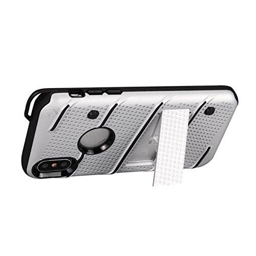 Oheng Tech Housse Armor Coque Case pour Apple iPhone X avec Super Impact Résistant double Structure de protection, élastique TPU + PC hard cover, avec protection caméra pour iPhone X (2017) Silver