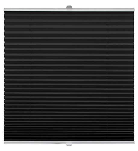 Store plissé sur mesure pour montage sur toutes les fenêtres, Montage par supports à clips jusqu'à 27 mm, Noir , Breite: 141 - 150 cm, Höhe: 40 - 100 cm