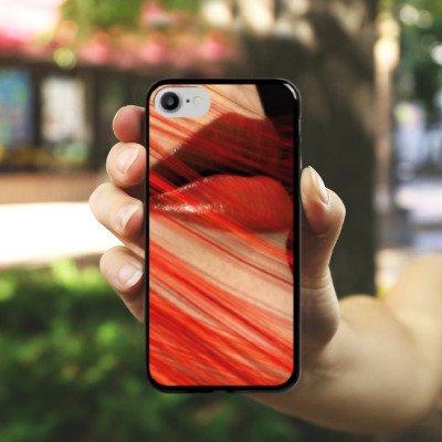 Apple iPhone X Silikon Hülle Case Schutzhülle Lippen Erotik Weiblich Hard Case schwarz
