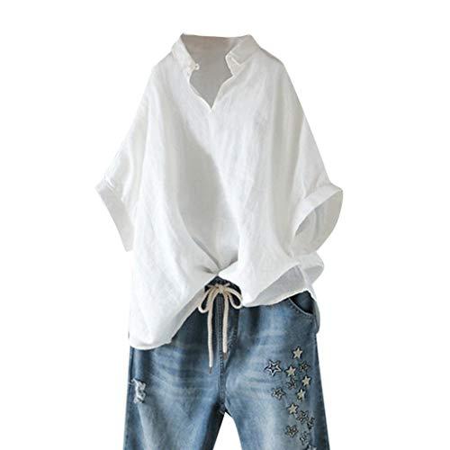 Andouy Damen Shirt Tops Kurzarm Plus Size Gr.40-46 Slouch Bluse Übergröße(14,Weiß)
