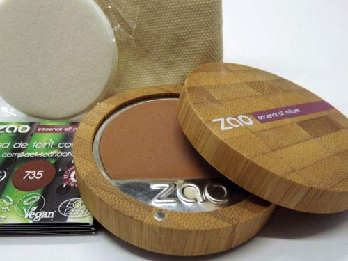 ZAO Compact Foundation 735 schokolade dunkelbraun Kompakt-Makeup Grundierung Foundation in nachfüllbarer Bambus-Dose (bio, Ecocert, Cosmebio, Naturkosmetik)