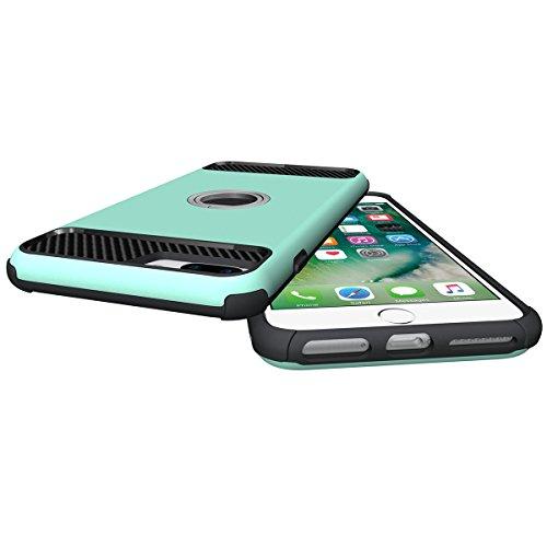 Custodia Cover iPhone 7 plus,Ukayfe 2 in 1 TPU Silicone Custodia Cassa Gomma Soft Silicone Case Bumper Morbida Cover Ultra Sottile Leggero Custodia Flessibile Liscio Caso per iPhone 7 plus con Colorat Menta verde
