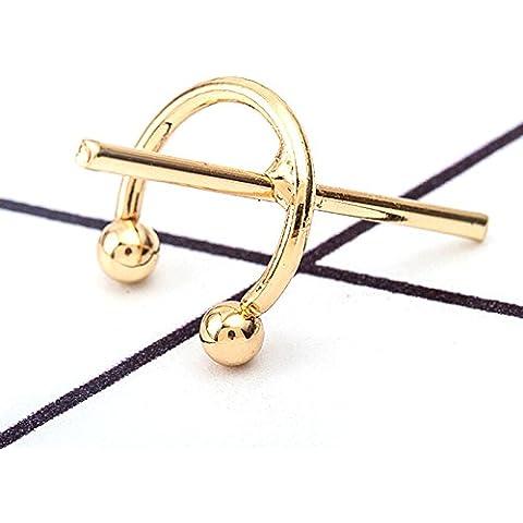 QHGstore 5pcs clip a forma di C di personalità geometrica croce senza Orecchio Anelli d'oro - Croce Anelli Dell'orecchio