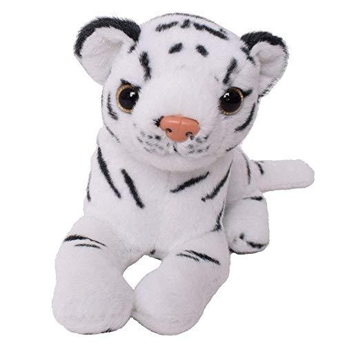 TE-Trend Plüschtier Tiger Tigerbaby Kuscheltier 16cm liegend weiß