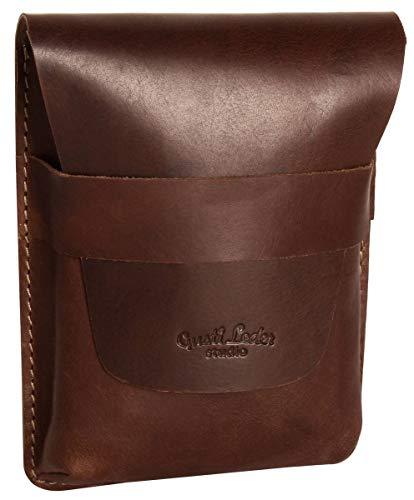 Estuche lapicero de cuero marrón Vintage