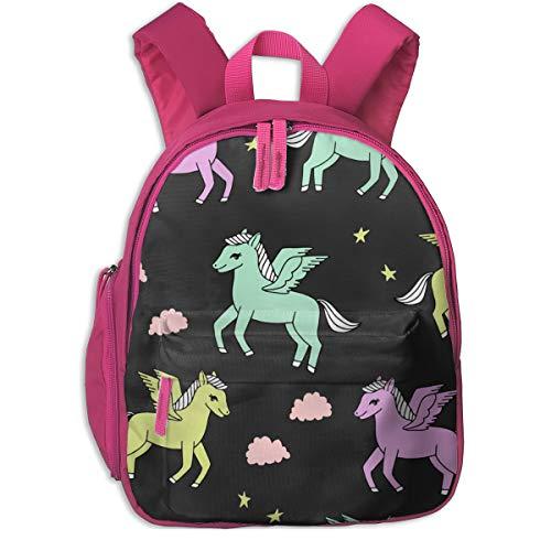 Kinderrucksack mädchen,Pegasus Stoff niedlich Pegasus skurrilen Fantasy Stoff für Mädchen niedlich Baby Kinderzimmer Design - Pastels_5575 - Andrea_Lauren, für Kinderschulen Oxford Stoff (pink)