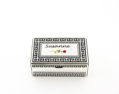 Schmuck-Dose-Schatulle versilbert antik mit Mäander verziert, individualisiert mit Ihrem Motiv u. eigenem Text als Geschenk zu jeder Gelegenheit, Größe:groß