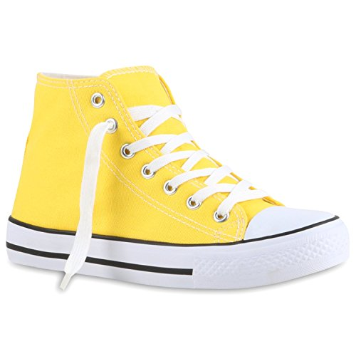 Damen Sneaker High Camouflage Sneakers Denim Stoff Schnürer Canvas Freizeit Turn Flats Übergrößen Schuhe 118772 Gelb 40 Flandell