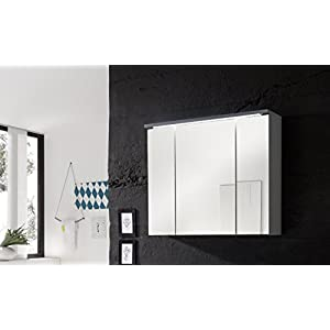 Stella Trading Splash Spiegelschrank, Holzdekor, Weiß, ca. 80 x 68 x 23 cm