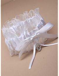 GARTER WHITE SATIN BOW RIBBON NET AND GLASS CRYSTAL HEART BRIDE HEN NIGHTS