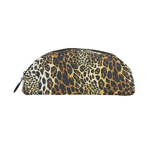 COOSUN - Estuche de piel de leopardo para lápices, semicircular, bolígrafo, bolsa, soporte para maquillaje, bolsa de cosméticos para mujeres y niñas